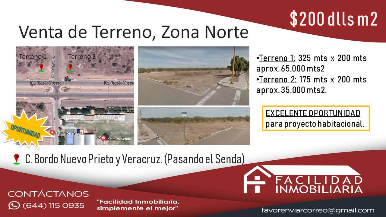 Venta de Terreno, Zona Norte $200 dlls m2