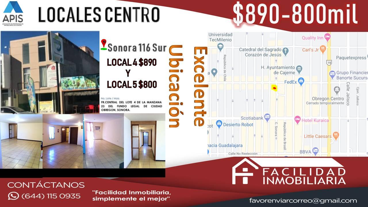LOCALES COMERCIALES CENTRO (INTERIOR EN EDIFICIO)