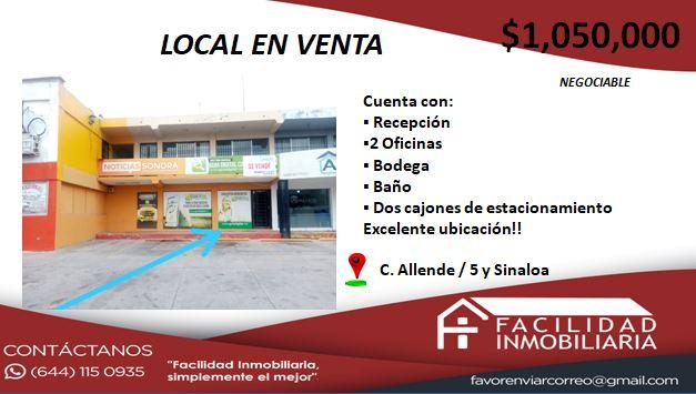 SE VENDE LOCAL COMERCIAL EN BUENAS CONDICIONES Y EXCELENTE UBICACIÒN $1,050,000 (Negociable)